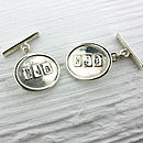 Sterling Silver Personalised Oval Cufflinks