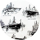 Ships of the Thames upcycled cushion