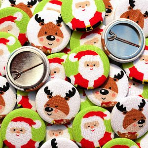 ''Santa And Reindeer'' Christmas Stocking Filler Badges