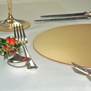 Gold Or Silver Leather Placemats Or Coasters