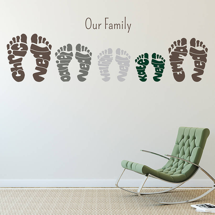 personalised footprint wall art stickers by name art. Black Bedroom Furniture Sets. Home Design Ideas