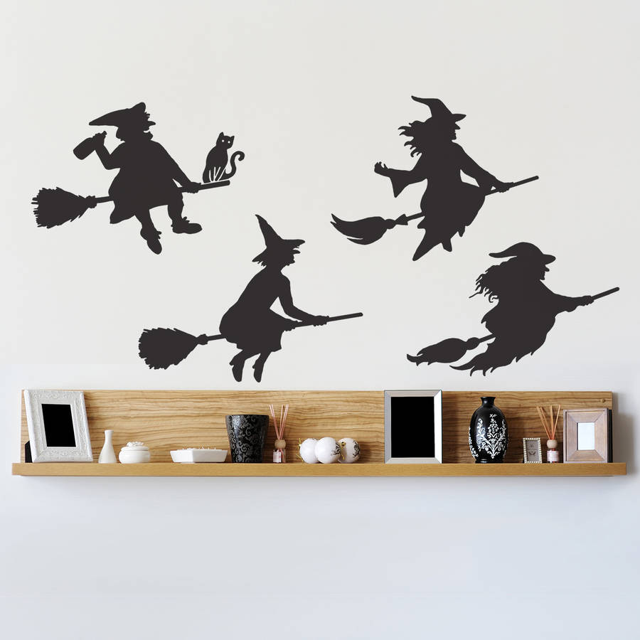Halloween Witches Wall Sticker Set. Halloween Witches Facing Right In Black