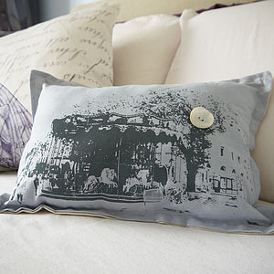 Vintage Style Paris Carousel Cushion