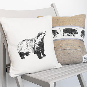 Badger And Hedgehog Cushion