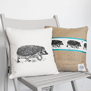 Hedgehog Cotton And Hessian Cushion