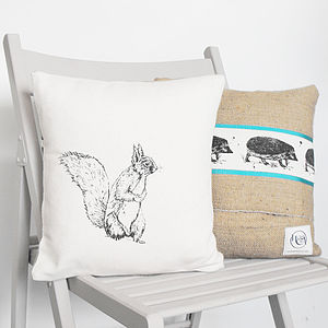 Squirrel And Hedgehog Cushion