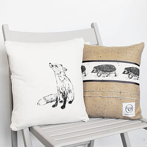Fox And Hedgehog Cushion - cushions