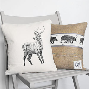Stag And Hedgehog Cushion - cushions
