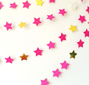 Cerise And Metallic Gold Star Paper Garland - garlands, bunting & hanging decorations