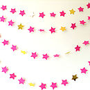 Cerise And Metallic Gold Star Paper Garland