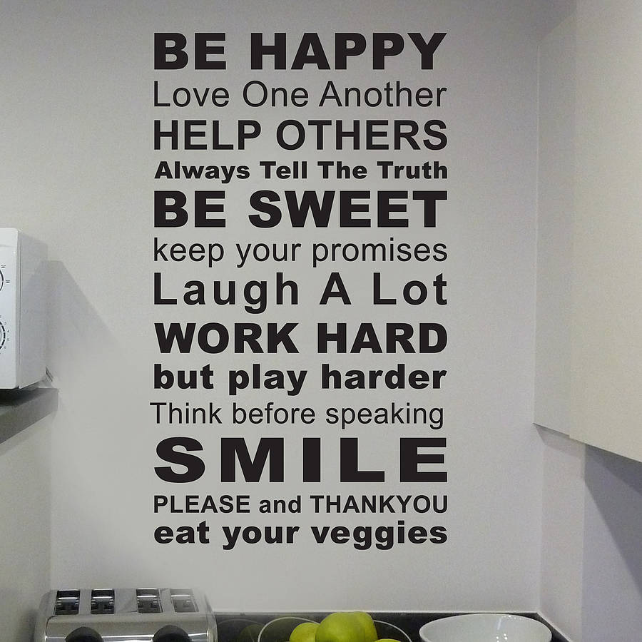 Rules Of The House Wall Sticker Part 38