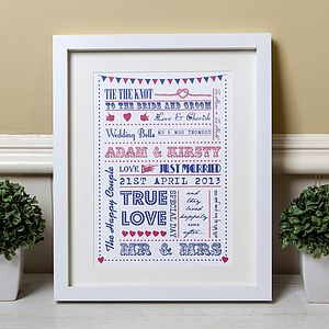 Personalised Typography Wedding Gift Print - contemporary art