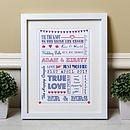 Personalised Typography Wedding Gift Print