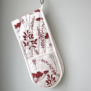Wine Cowparsley Design Oven Gloves - oven gloves & mitts