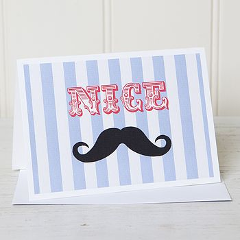 Moustache Personalised Typography Card
