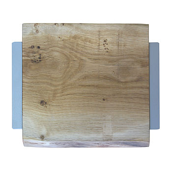 Oak And Iron Square Waney Edge Chopping Board
