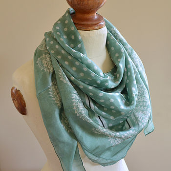 Green Polka Dot Scarf