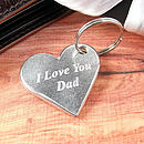 Love You Dad/Daddy Heart Keyring