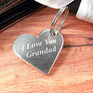 Love You Grandpa/Grandad Heart Keyring - gifts for grandparents