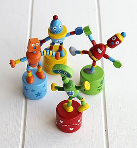 Set Of Wooden Push Up Robots - stocking fillers
