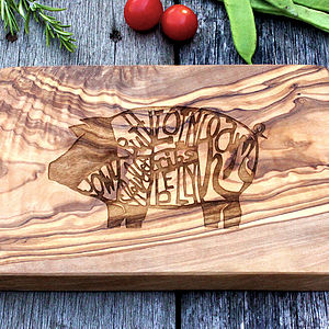 Butchers Chart Engraved Wooden Chopping Board - gifts for him