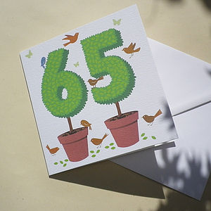 Personalised Topiary Number Card - retirement cards