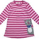 Girl's Organic Kitty Applique Dress