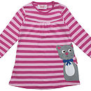 Girl's Organic Kitty Applique Dress
