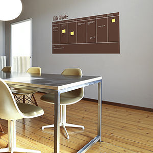 Write And Erase Weekly Planner Wall Sticker - wall stickers by room