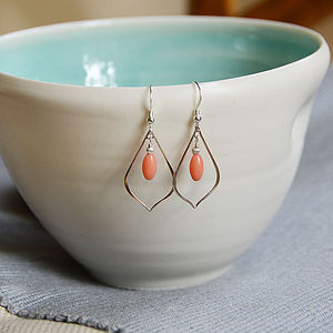 Silver And Coral Earrings - earrings