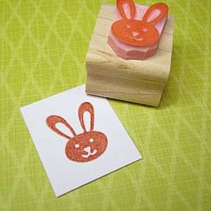 Cute Easter Bunny Hand Carved Rubber Stamp - stamps & inkpads