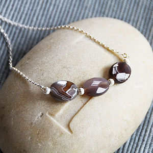 Botswana Agate Trio Necklace - necklaces & pendants