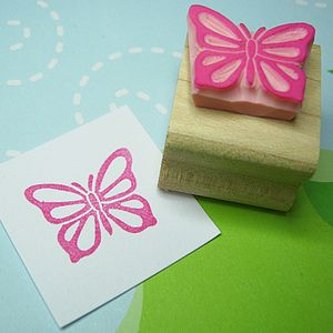 Fluttering Butterfly Hand Carved Rubber Stamp - view all sale items