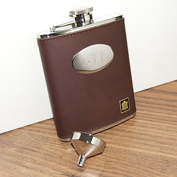 Personalised Leather Hip Flask Brown