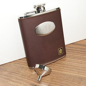 Personalised Brown Leather Hip Flask