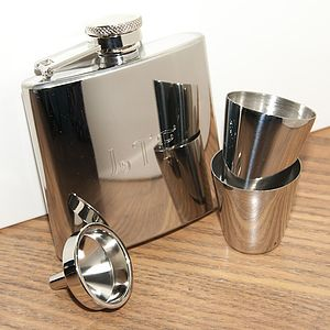 Personalised Hip Flask, Funnel & Shot Glasses - drink & barware