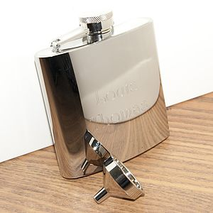 Personalised Stain Steel Hip Flask & Funnel - food & drink sale