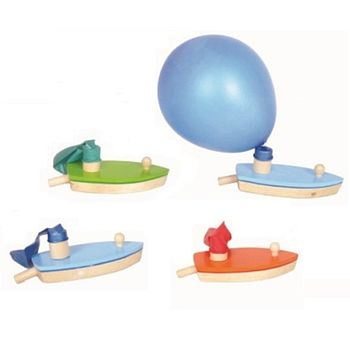 Wooden Balloon Powered Boat Toy