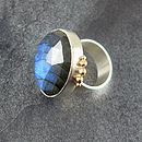 Handmade Labradorite Ring In Silver And Gold