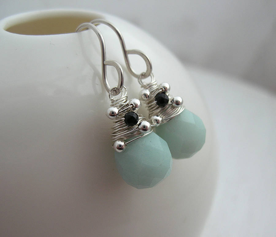 Mint Amazonite And Onyx Earrings