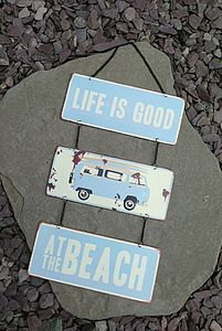 'Life Is Good At The Beach' Campervan Sign - signs