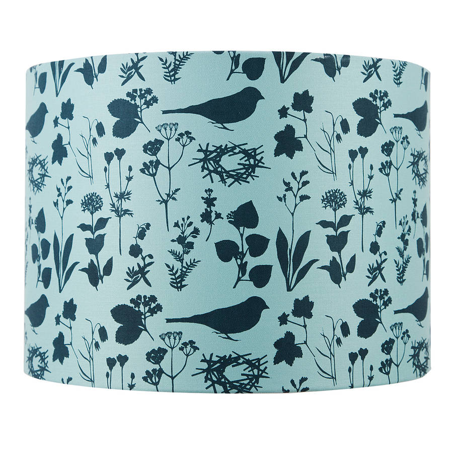 Birds And Flowers Handprinted Lampshade