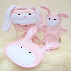 Personalised Bunny Baby Towel Gift Set - bathtime