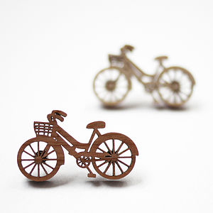 Bicycle Brooch Cherry Or Birch Wood