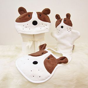 Personalised Puppy Baby Towel Gift Set - gifts for babies & children sale