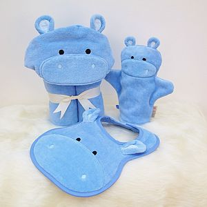 Personalised Hippo Baby Towel Gift Set