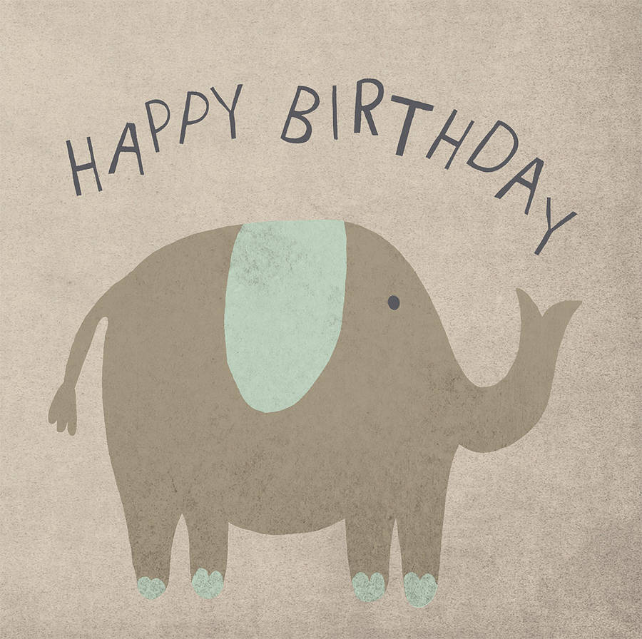 elephant happy birthday card by lil3birdy notonthehighstreetcom