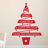 Personalised Christmas Tree Vinyl Wall Sticker - christmas