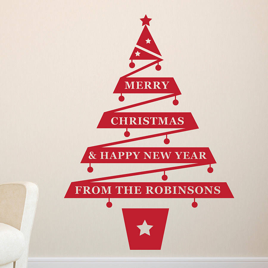 Personalised Christmas Tree Vinyl Wall Sticker  sc 1 st  Notonthehighstreet.com & personalised christmas tree vinyl wall sticker by megan claire ...