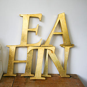 Genuine Vintage Metal Gold Letters - room decorations